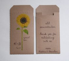Custom Sunflower Kraft Wedding Favor Seed Packet Envelopes - Many Colors Available on Etsy, $25.00