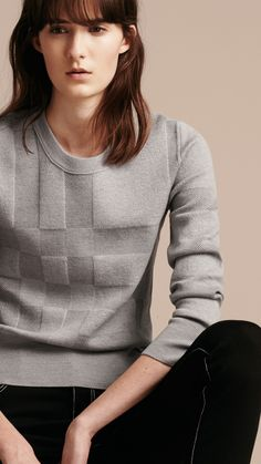 Check Knit Wool Blend Sweater Mid Grey Melange | Burberry