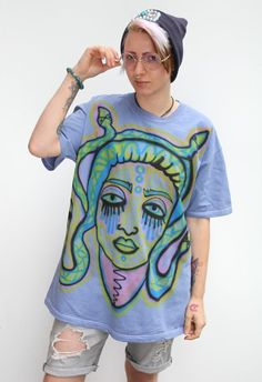 Medusa Snake Goddess Hand Painted Airbrushed T-Shirt Top By Gobbolino XL Snake Painting, Air Brush Painting, Medusa Snake, Snake Goddess, Painted Jackets, Airbrush T Shirts, Paint Shirts, Paint Designs, Hand Painted