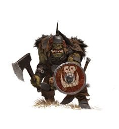 forgeworld/games workshop concept- orc with shield, adrian smith on ArtStation at http://www.artstation.com/artwork/forgeworld-games-workshop-concept-orc-with-shield