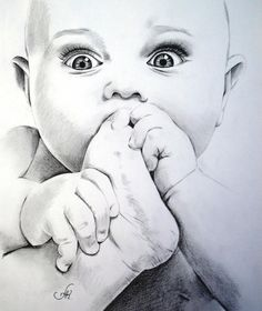 Pencil drawing tutorials, drawing ideas, baby drawing, pencil art, pencil d Pencil Sketch Drawing, Pencil Art Drawings, Art Drawings Sketches, Realistic Drawings, Portrait Au Crayon, Pencil Portrait, Cute Baby Drawings, Baby Sketch, Mother Art