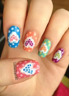 Patchwork Love Hearts Nail Art