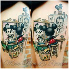 Mickey Mouse self-portrait tattoo by Mae La Roux Mickey Tattoo, Mickey Mouse Tattoos, Disney Sleeve Tattoos, Disney Tattoos, Love Tattoos, Body Art Tattoos, Girly Tattoos, Tatoos, Future Tattoos