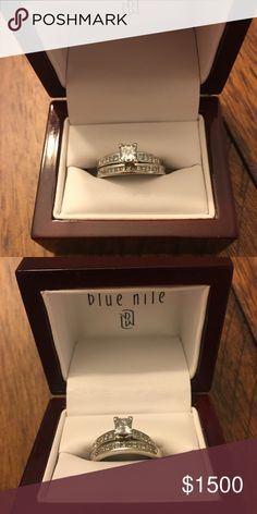 Diamond Wedding Set Beautiful engagement ring & wedding band!  14k white gold, diamond in engagement ring is quarter carat.  Great quality and clarity!  Size 7 Blue Nile Jewelry Rings