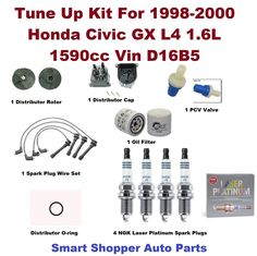 Tune Up Kit For 98-00 Civic GX L4 1.6L Spark Plug Wire Set, Oil Filter, PCV Valv #AftermarketProducts