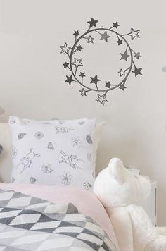 Round Metal Home Decor Wall Art Stars Minimalist Living Room Design New Gift