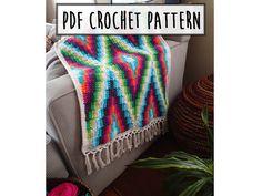Modern Bohemian Baby Blanket Crochet Pattern PDF von PrettyPeaceful, $5.00