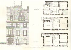 666 Fifth Ave. | Townhouse built for W. K. Vanderbilt Jr. and his wife Virginia Fair Vanderbilt. Noted here: he First, Second And Third Floor Plans. #Architecture. #Design. #GildedAge.