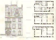 666 Fifth Ave | New York, NY. Elevation and floor plans designed (1906)  by McKim, Mead & White for Mrs. Wm. K. Vanderbilt, Jr. (Virginia Fair).