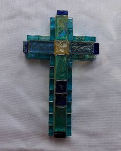 Light Blue Glass Gems on a Wooden Cross