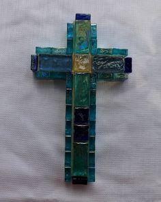 Light Blue Glass Gems on a Wooden Cross