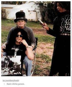 Guns N Roses guitarist Slash with his parents.