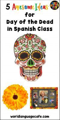 5 Awesome Free Day of the Dead Activities for Spanish Class. Lots of fun for Día de los Muertos lesson plans for elementary to high school students. World Language Cafe Middle School Spanish, Elementary Spanish, Spanish Classroom, Teaching Spanish, Learn Spanish, Teaching French, Learn French, Free Spanish Lessons, Spanish Lesson Plans