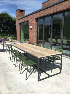47 Enjoying Outdoor Dining Room Design Ideas That You Should Try - There are occasions and instances when a family needs to entertain guests and friends hence extra tables are required or rented to be able to accommod. Wooden Outdoor Table, Outdoor Dining Chairs, Outdoor Tables, Patio Table, Outdoor Seating, Outdoor Living, Outdoor Decor, Outdoor Garden Furniture, Patio Furniture Sets