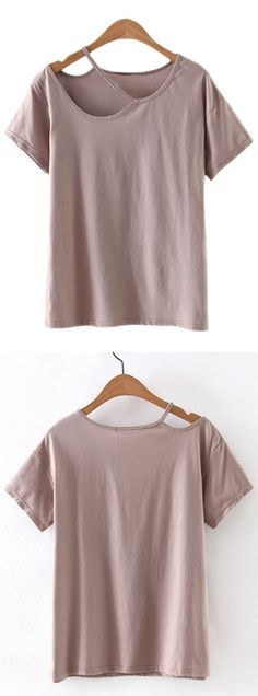 Brown Cold Shoulder Cut Out Short Sleeve T-shirt