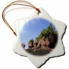 3dRose New Brunswick, Bay of Fundy. Hopewell Rocks-CN04 CMI0080 - Cindy Miller Hopkins, Snowflake Ornament, Porcelain, 3-inch