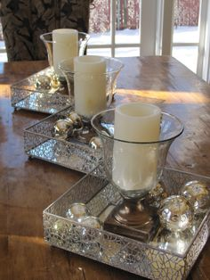dining table decor for christmas!! I'd throw in some spray painted glitter pine cones :) Pretty wire baskets.
