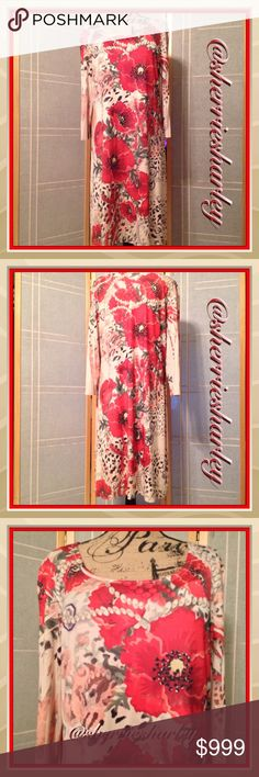 Red Poppies & Pearls Maxi Dress Plus Size Gorgeous Poppies and Pearls make this a statement wherever you go. Dress it up or down, add a black belt, high boots & pearls, voila Fashion Diva!  Fits Plus Size 1X -3X. Dresses Maxi