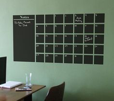 A Chalkboard Calender Wall Decal with Extra Note Panel on Etsy, $55.00