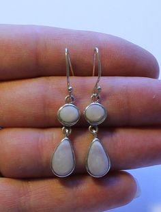 Sterling Silver Pink Mother of Pearl Dangle or Drop by onetime, $6.25
