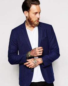 ASOS+Slim+Fit+Blazer+In+Pique+Jersey - 572 kr. http://www.asos.com/asos/asos-slim-fit-blazer-in-pique-jersey/prod/pgeproduct.aspx?iid=4961155&clr=Navy&SearchQuery=blazer&pgesize=36&pge=1&totalstyles=139&gridsize=3&gridrow=9&gridcolumn=2