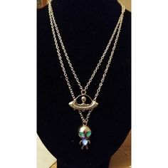 Glow In The Dark Cute Silver Alien and UFO Spaceship Necklace Set ❤ liked on Polyvore featuring jewelry, necklaces, silver chain necklace, cross necklace, glow in the dark jewelry, silver crucifix necklace and engraved jewelry