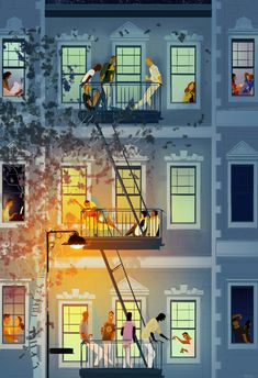 Nice Graphic Arts Illustration of New York Stories by Pascal Campion Gravure Illustration, Comics Illustration, Illustrations And Posters, Cute Illustration, New York Illustration, Building Illustration, Pascal Campion, Fire Escape, Oeuvre D'art