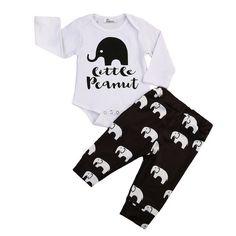 e934d340d8bf Cute Newborn Baby Boy Girl Elephant Clothes Set Little Peanut Long Sleeve  Cotton Romper Tops+Long Pant Trouser Outfits