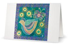 BLANK CARD 'Joy'  mixed media artwork by by MrsButtonsEmporium