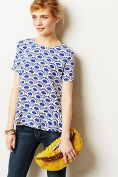 I can't really do peplum but am in love with this print Marmara Peplum Blouse #anthropologie