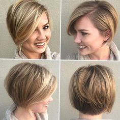 20 Short Hair with Deep Side Part Sometimes all you need to change for thicker looking hair is the part Rocking side bangs with a deep side part works as an optical illusion for creating denseness in fine manes. This trick is particularly effective on thin short locks. Strategically layering around the crown is also Modern Bob Hairstyles, Bob Hairstyles For Fine Hair, Thin Hair Haircuts, Best Short Haircuts, Girl Haircuts, Hairstyles Haircuts, Pixie Haircuts, Layered Hairstyles, School Hairstyles