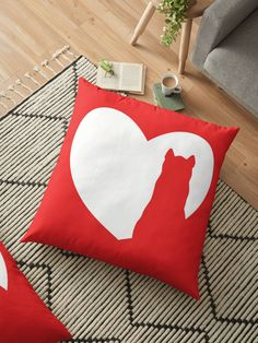 Fine red logo with cat silhouette. Love cats.