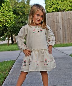 Look what I found on #zulily! Natural Embroidered Drop-Waist Dress - Infant, Toddler & Girls by Little Cotton Dress #zulilyfinds