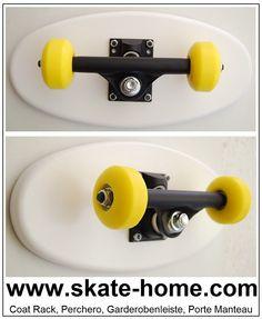 Skater style for your room Garderobenleiste, porte manteau, coat rack, perchero. Skateboard Room, Skateboard Furniture, Skateboard Wheels, Style Skate, Skateboard Accessories, Skate Shop, Original Gifts, Projects For Kids, Furniture Design