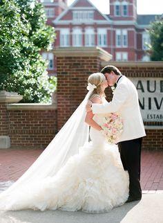 Auburn University wedding, Auburn AL wedding. Lark by Vera Wang. Cathedral veil by Vera Wang. Samford Hall. Auburn United Methodist Church Wedding.