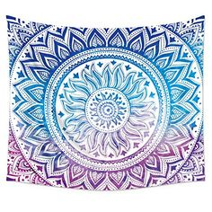 """Medallion Wall Tapestry Hanging, Uphome Light-weight Polyester Fabric Wall Decor (51""""H x 60""""W, Blue and Purple)"""