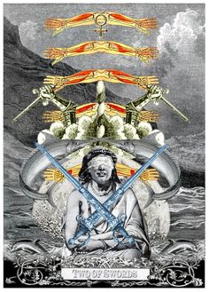 Two of Swords - Arthur Taussig Collage Tarot