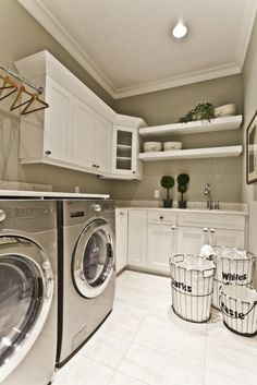 Have to find wire baskets like this for my new laundry room