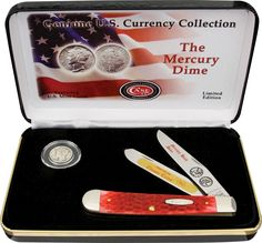 Case Cutlery: Mercury Dime Gift Set Collector Knives, Best Hunting Knives, Mint Coins, Knives And Tools, Cutlery, Trapper, Mercury, Gifts, Ebay