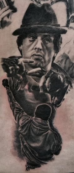 Rocky Balboa par stephane Bueno tatoueur studio Black Corner Tattoo Valence #tattoo #rocky #inked #portrait #realistic #stalone #stephanebueno #blackcornertattoo