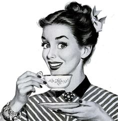 vintage illustration of a caffeinated Happy Housewife.