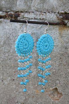 Crochet Hoop Earrings with beads. $9,99, via Etsy.