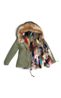 This cotton canvas **Mr & Mrs Italy** mini parka features a utilitarian style with a multicolor raccoon fur trimmed hood with a matching fox fur lining.