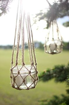 The perfect DIY outdoor decor for a summer party on the patio! All you need is jute string and mason jars!