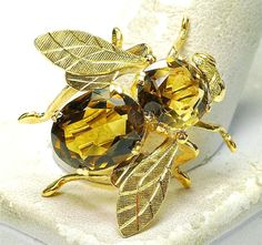 Vintage 18k yellow Gold & Citrine Bug Fly Bee Insect Pin
