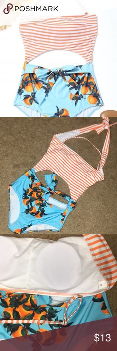 Zaful NWOT orange print stripes cut out one piece Selling my NWOT Zaful one piece swimsuit! Features a cute orange print and stripes on top with peekaboo cutouts. Never worn in water, only tried on. Size medium, halter style. Has cups as shown in photo above and protective clear plastic.  Hi! I'm Kate. Thanks for stopping by! I'm selling gently-used clothing and accessories from a pet/smoke free home. I work as a personal stylist and love dressing up! Feel free to contact me with any…