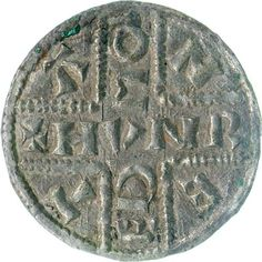 Silver penny, King Æthelbert of Kent Inscribed Cross type, Canterbury by the moneyer Hunred; Silver Penny, Medieval, Sutton Hoo, Germanic Tribes, Antique Coins, Historical Artifacts, Metal Detecting, Anglo Saxon, Dark Ages
