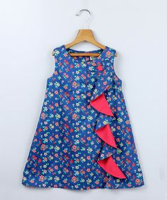 Take a look at this Blue Floral Frill Dress - Girls on zulily today!