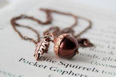 Chocolate and Copper Pearl Acorn Necklace by EnchantedLeaves.com #enchantedleaves #weddingjewelry #bridesmaids #acorn #fallwedding #acornnecklace