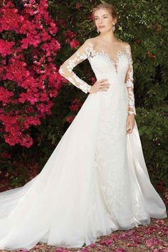 Long-sleeve wedding dress idea - a-line wedding dress with long, lace sleeves and v-neckline. Style 2270 Wisteriae from Casablanca Bridal.